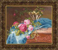"""Вышивка крестом """"Розы и жемчуг"""""""