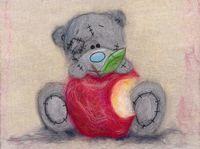 """Картина из шерсти """"Татти Тедди с яблочком"""""""