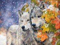 """Алмазная вышивка-мозаика """"Волки в листве клена"""""""