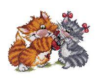 """Вышивка крестом """"Рыжий кот. Подарок"""""""