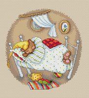 """Вышивка крестом """"Мишкины сны"""" (200х180 мм)"""