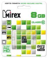 Карта памяти micro SDHC 8Gb Mirex Class 10 (без адаптера)