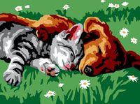 """Картина по номерам """"Котенок и щенок"""" (300х400 мм)"""