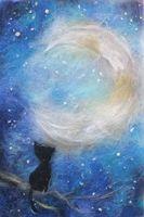 """Картина из шерсти """"Лунный кот"""""""