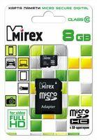 Карта памяти micro SDHC 8Gb Mirex Class 10 (с адаптером)