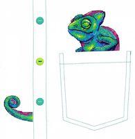 "Вышивка крестом ""Любопытный хамелеон"" (70х80 мм)"