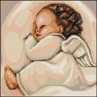 """Вышивка крестом """"Спящий ангелочек"""" (100х100 мм)"""