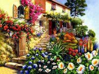 """Алмазная вышивка-мозаика """"Дом в цветах"""""""