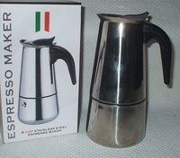 Кофеварка гейзерная металлическая с пластмассовой ручкой на 9 чашек (450 мл; арт. 220900)