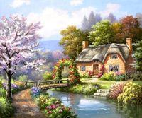 """Алмазная вышивка-мозаика """"Дом у реки"""""""