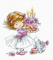 """Вышивка крестом """"Девочка с котенком и тортиком"""" (135х145 мм)"""