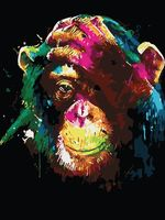 "Картина по номерам ""Задумчивый шимпанзе"" (400х500 мм)"
