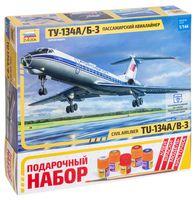 """Сборная модель """"Пассажирский авиалайнер Ту-134 А/Б-3"""" (масштаб: 1/144; подарочный набор)"""
