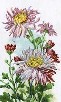 """Вышивка крестом """"Розовые хризантемы"""" (200x320 мм)"""