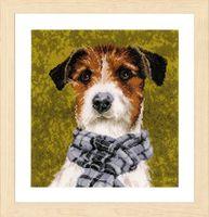 "Вышивка крестом ""Собака с шарфом"" (280х290 мм)"