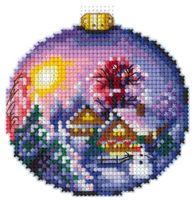 """Вышивка крестом """"Зимний пейзаж"""" (80х80 мм)"""