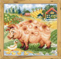 "Вышивка крестом ""Хуторок. Свинка"" (200х200 мм)"