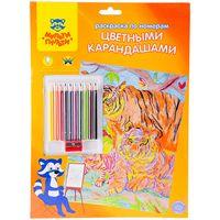 """Раскраска по номерам """"Тигры"""" (с цветными карандашами)"""