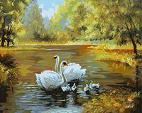 """Картина по номерам """"Лебеди в пруду"""" (400х500 мм)"""