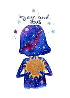 """Открытка """"Яна Поддубская. My sun and stars"""" (арт. 1192)"""