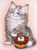 """Алмазная вышивка-мозаика """"Кот и пирожное"""""""