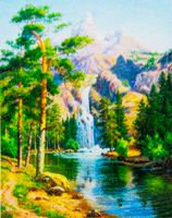 """Алмазная вышивка-мозаика """"Горный водопад"""""""