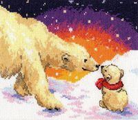 "Вышивка крестом ""Белые медведи"" (200х160 мм)"
