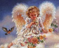 """Вышивка крестом """"Ангел с птичками"""" (333x278 мм)"""