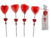 """Набор сувениров пластмассовых на деревянных палочках """"Сердечки"""" (2 шт, 30 см)"""