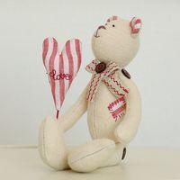 """Кукла """"Медвежонок"""" (плюшевый белый с сердцем и заплаткой)"""