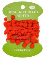 """Тесьма декоративная """"Hobby Time"""" (красная; 1 м; арт. 2-609/09)"""
