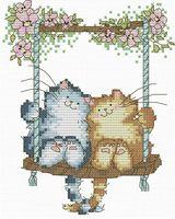 """Вышивка крестом """"Влюбленные кошки"""" (120х150 мм)"""