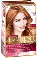 """Крем-краска для волос """"Excellence"""" (тон: 7.43, медный русый)"""
