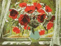 "Картина по номерам ""Букет маков у окна"" (400x500 мм)"