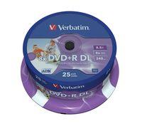 Диск DVD+R Double Layer 8.5Gb 8x Verbatim Inkjet Printable CakeBox 25