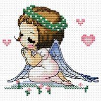 """Вышивка крестом """"Ангелочек с сердечками"""" (100x105 мм)"""