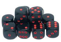 """Набор кубиков D6 """"Опак"""" (12 мм; 12 шт.; черно-красный)"""