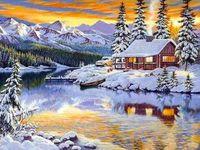 """Алмазная вышивка-мозаика """"Зимний домик у реки"""" (600х450 мм)"""