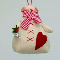 "Кукла ""Снеговик"" (с рождественским букетом в руке )"