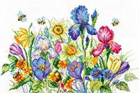 """Вышивка крестом """"Садовые цветы"""" (350x250 мм)"""