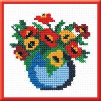 "Вышивка крестом ""Ваза с цветами"" (100х100 мм)"