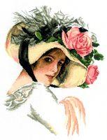 """Вышивка крестом """"Девушка в шляпе с розой"""""""