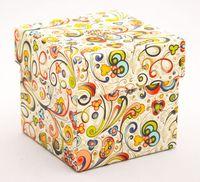 "Подарочная коробка ""Art-Nouveau Flowers"" (7,5х7,5х7,5 см; красные элементы)"