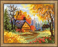 """Вышивка крестом """"Деревенский пейзаж. Осень"""" (200х160 мм)"""