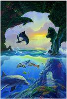 """Алмазная вышивка-мозаика """"Дельфины"""" (620х810 мм)"""