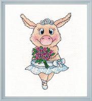"""Вышивка крестом """"Свинка-балерина"""" (110х160 мм)"""